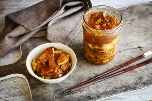 Fresh house made kimchi with chopsticks - EVGF03225