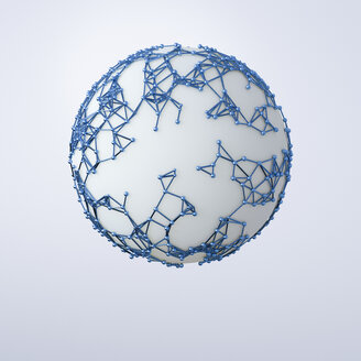 Spheres and grid on spherical surface, 3d rendering - UWF01219