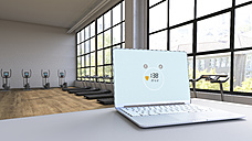Heart rate on laptop in loft with exercise equipment, 3d rendering - UWF01225