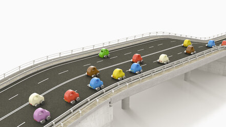 Toy cars on motorway, 3d rendering - UWF01231