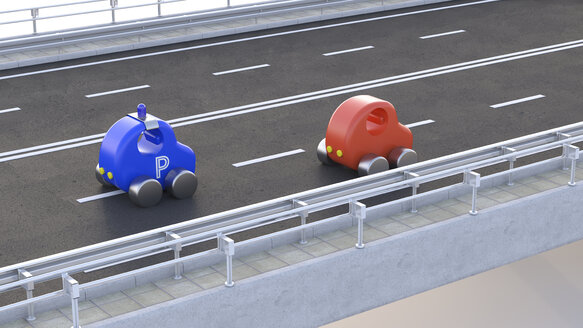 Toy police car stopping car on motorway, 3d rendering - UWF01234