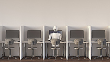 Robot sitting in office, working alone - AHUF00364