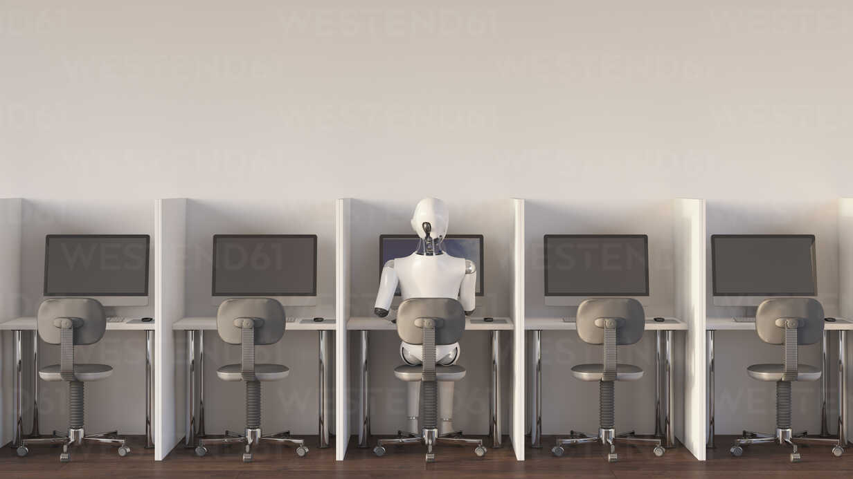 Robot sitting in office, working alone - AHUF00364 - Anna Huber/Westend61