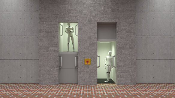 Robot standing in elevator, watching each other - AHUF00367