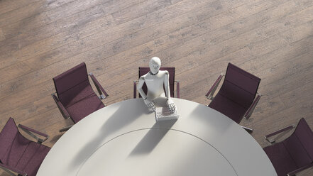 Robot sitting sitting at conference table, using laptop - AHUF00373