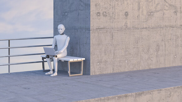 Robot sitting on bench, using laptop - AHUF00376