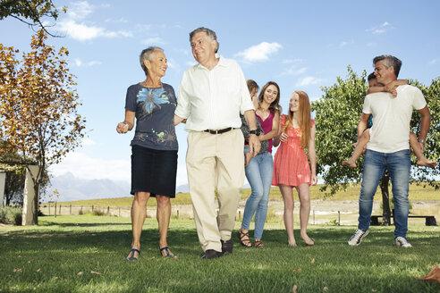 Happy extended family in garden - ZEF13944