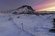 Iceland, Snowy landscape at sunset - RAEF01881