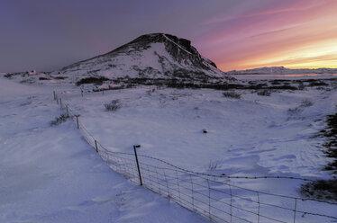 Iceland, Snowy landscape at sunset - RAEF01881
