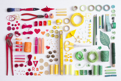Tools, craft and painting materials on white ground - CMF00686