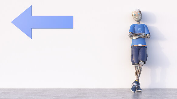 Robot leaning against a wall with arrow, 3d rendering - AHUF00383