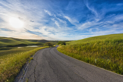 Italy, Tuscany, Val d'Orcia, road through the fields - LOMF00586
