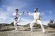 Men doing martial arts poses - ABZF02116