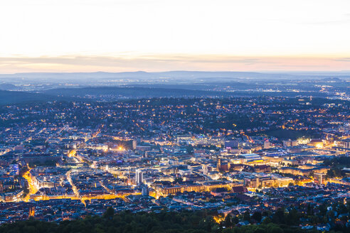 Germany, lighted city view of Stuttgart at twilight - WDF04041