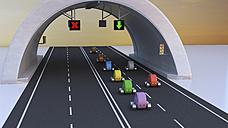 3D Rendering, Cars following green arrow under tunnel - UWF01244