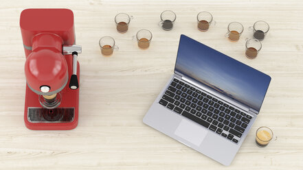 3D Rendering, Laptop on desk with lots of empty coffee cups and espresso maker - UWF01250