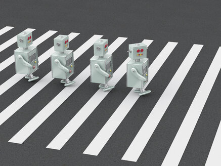 3D Rendering, Robots crossing zebra crossing - UWF01253