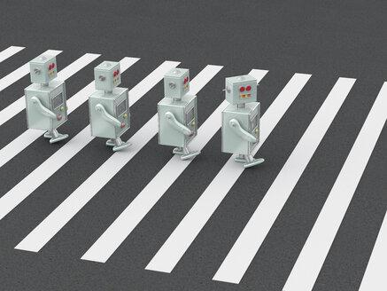 3D Rendering, Robots crossing zebra crossing - UWF01253