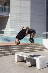 Man exercising Parkour discipline in the city - MGIF00001