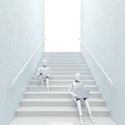 Robot sitting on stairs using laptop, 3d rendering - AHUF00390