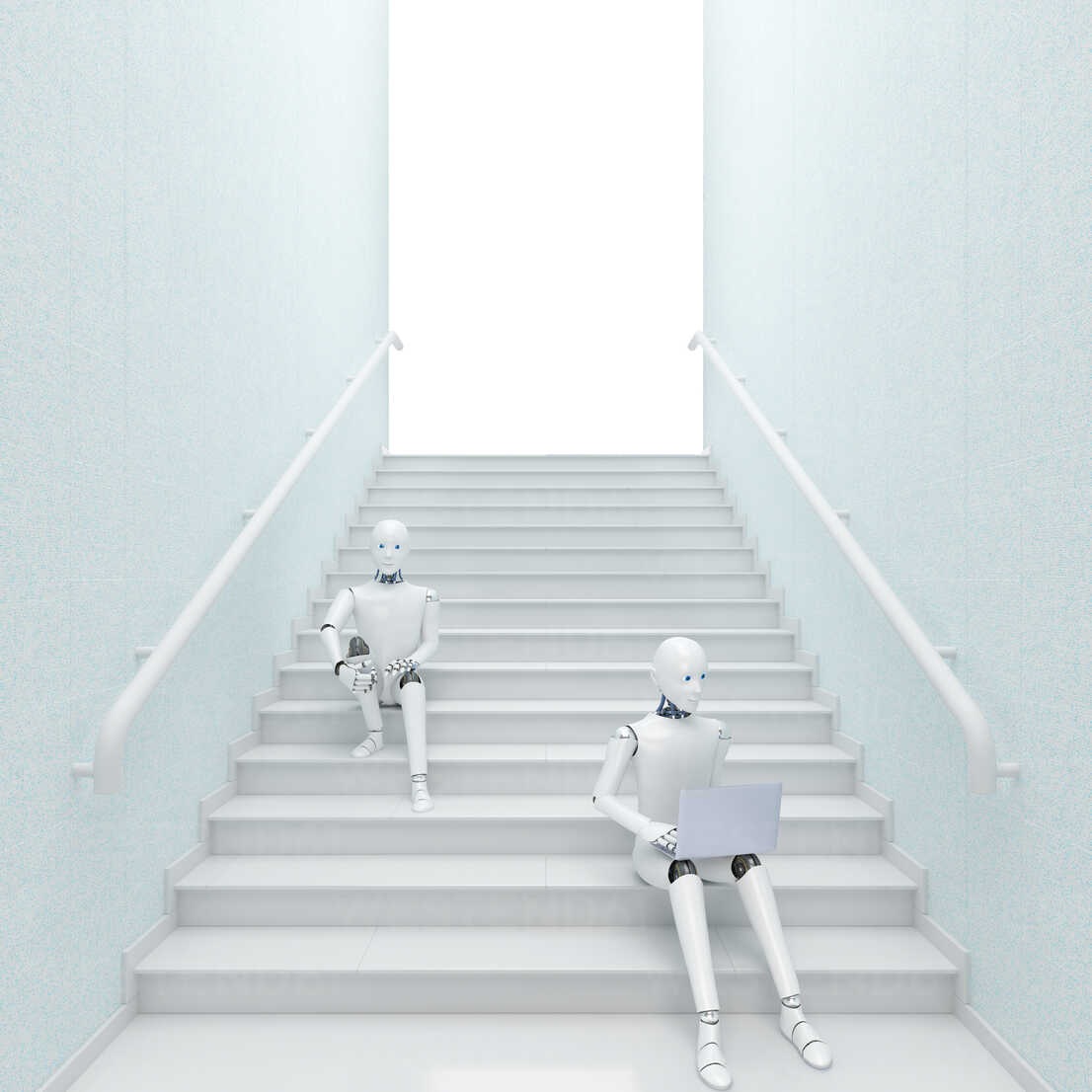 Robot sitting on stairs using laptop, 3d rendering - AHUF00390 - Anna Huber/Westend61