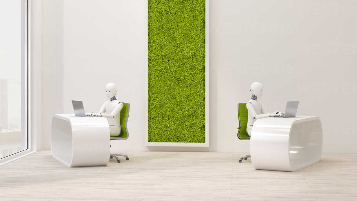 Robots using laptops in futuristic office , 3d rendering - AHUF00393 - Anna Huber/Westend61