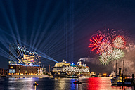 Germany, Hamburg, christening of cruise liner Mein Schiff 6 in front of Elbphilharmonie with fireworks - KEB00574