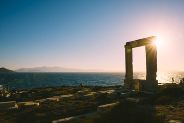 Greece, Cyclades, Naxos, Gate to the temple of Apollo at sunset - GEMF01703