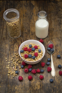 Bowl of granola with raspberries and blueberries - LVF06199