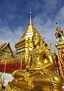 Thailand, Chiang Mai, temple Wat Phra That Doi Suthep, ornate golden statue and chedi - TOVF00086