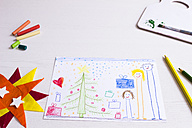 Children's drawing of happy family at Christmas - CMF00687