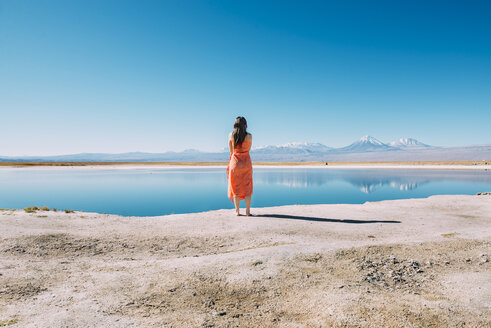 Chile, Atacama Desert, back view of woman standing on edge of Laguna Cejar - GEMF01720