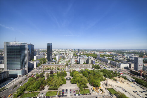 Poland, Warsaw, capital city downtown, view from above, city centre cityscape - ABOF00227
