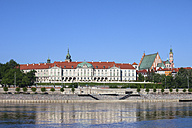 Poland, Warsaw, Old Town skyline with Royal Castle from the Vistula River - ABOF00236