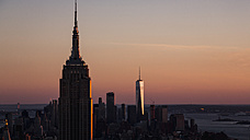 USA, New York City, Empire State building at sunset - MAUF01154