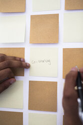 Writing on adhesive note at wall in office - GIOF02943