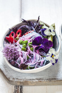 Vegan Unicorn Noodles, edible flowers, red cabbage, asparagus, peas, chili and sprouts - SBDF03215
