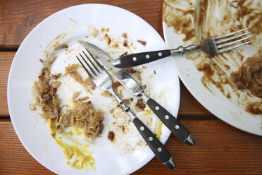 Leftovers plate with cutlery on wooden table - RTBF00989