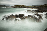UK, Scotland, Isle of Lewis, cliff on stormy day, long exposure - FCF01222