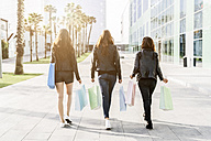 Back view of three friends with shopping bags - GIOF02951