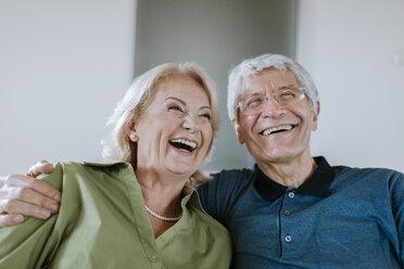 Happy senior couple at home - ZEDF00774