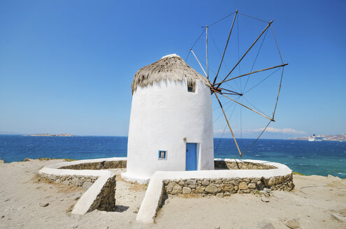 Greece, Mykonos, view of traditional windmill - DHCF00086