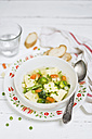 Bowl of stock with vegetable Swabian dumplings - CZF00291
