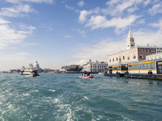 Italy, Venice, view to Doge's Palace and Campanile seen from boat - SBDF03255