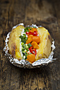 Baked patato with curd and chives, bell pepper, tomato and spring onions - LVF06217