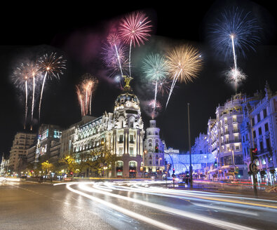 Spain, Madrid, firework display at night - DHCF00103
