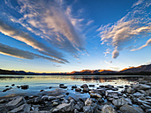 New Zealand, South Island, Canterbury Region, Lake Tekapo at sunset - STSF01262