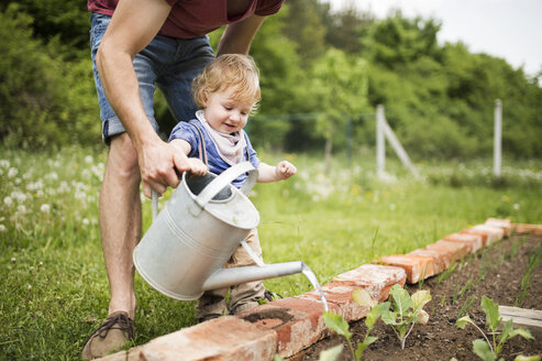 Father with his little son in the garden watering seedlings - HAPF02010