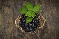 Wickerbasket of organic blackberries on wood - LVF06235