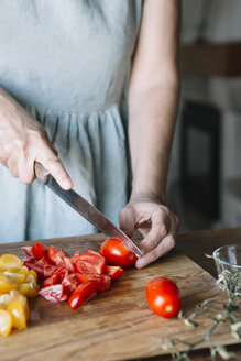 Close-up of woman slicing fresh tomatoes - ALBF00131